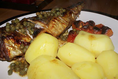 Grilled Mackerel with a Garlic Infused Butter with Capers