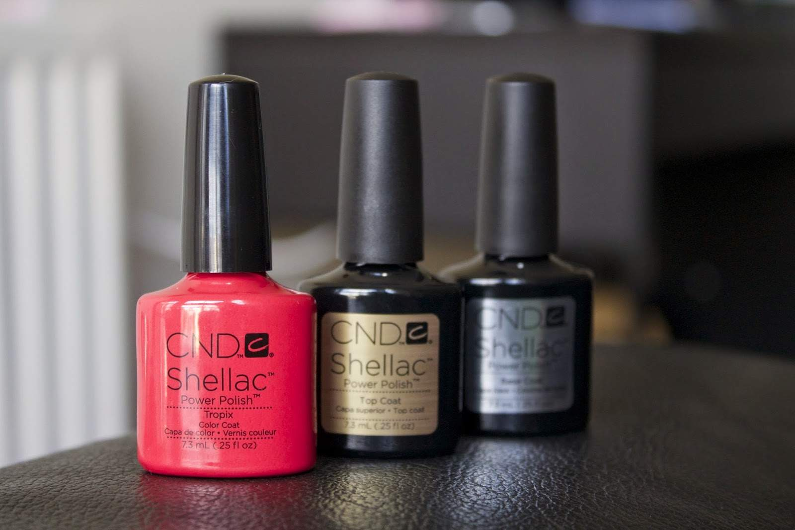 CND Shellac Gel Nail Polish Tropix colour, Top coat and Base coat