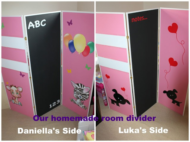 sisters bedroom divider. chalk board. magnetic board