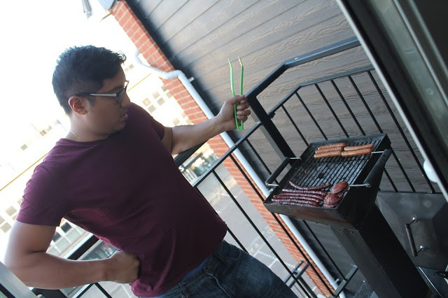 bbq in a balcony