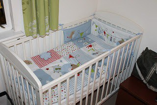 39 Weeks Pregnant baby boy's cot